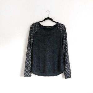 Prana Tops - Prana Scoop Neck Pullover Top Black/Grey Size M